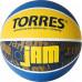Мяч баскетбольный TORRES Jam B02047, р.7, резина, нейлон. корд, бут. кам., син-желт-голубой